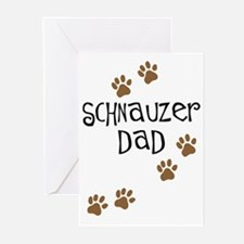 Paw Prints Schnauzer Dad Greeting Cards (Pk of 10)