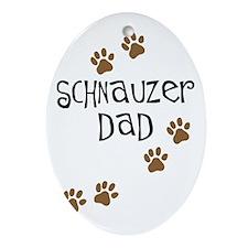 Paw Prints Schnauzer Dad Oval Ornament