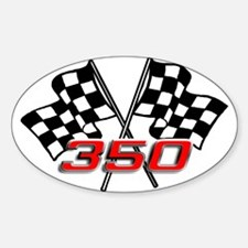 350 Checkered Flags Oval Decal