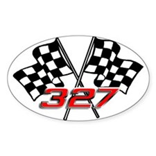 327 Checkered Flags Oval Decal