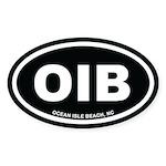 OIB Ocean Isle Beach, NC Euro Black Oval Sticker