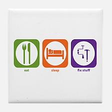Eat Sleep Fix Stuff Tile Coaster