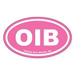 OIB Ocean Isle Beach, NC Euro Pink Oval Sticker