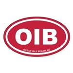 OIB Ocean Isle Beach, NC Euro Oval Sticker (10 pk)