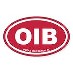 OIB Ocean Isle Beach, NC Euro Red Oval Sticker