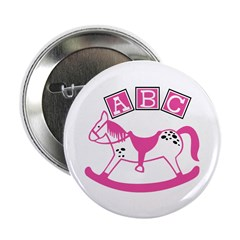 """Pink Rocking Horse 2.25"""" Button (10 pack)"""