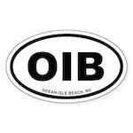 OIB Ocean Isle Beach, NC Euro White Oval Sticker