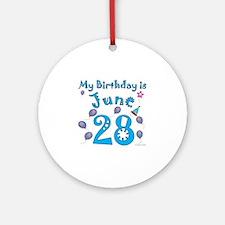 June 28th Birthday Ornament (Round)