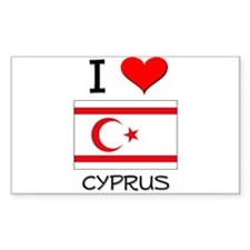 I Love Cyprus Rectangle Decal
