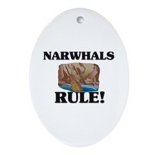 Narwhals Rule! Oval Ornament