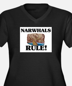Narwhals Rule! Women's Plus Size V-Neck Dark T-Shi
