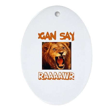 Logan Says Raaawr (Lion) Oval Ornament