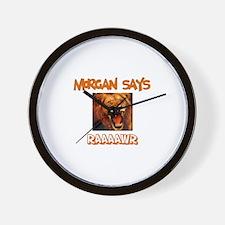 Morgan Says Raaawr (Lion) Wall Clock