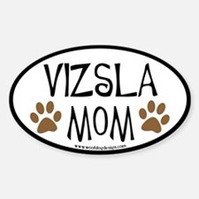Vizsla Mom Oval (black border) Oval Decal