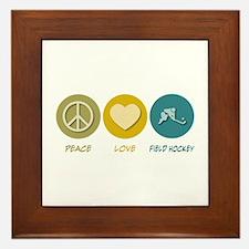 Peace Love Field Hockey Framed Tile