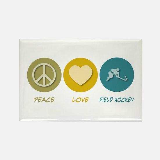 Peace Love Field Hockey Rectangle Magnet