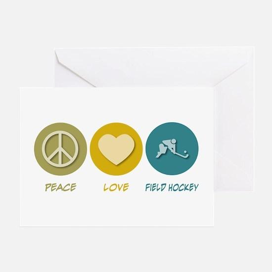 Peace Love Field Hockey Greeting Card