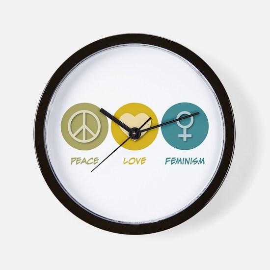 Peace Love Feminism Wall Clock