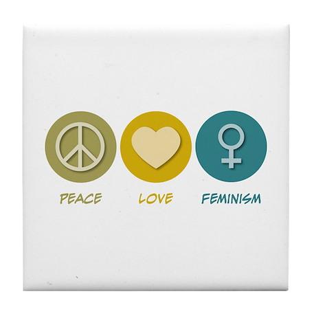 Peace Love Feminism Tile Coaster
