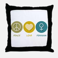 Peace Love Feminism Throw Pillow