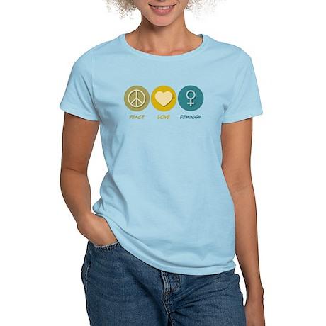 Peace Love Feminism Women's Light T-Shirt