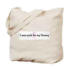 I wear pink for my Granny pin Tote Bag