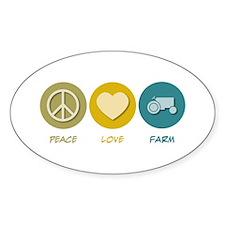 Peace Love Farm Oval Decal