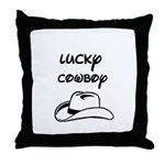 LUCKY COWBOY HAT Throw Pillow