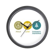 Peace Love Environmental Engineering Wall Clock