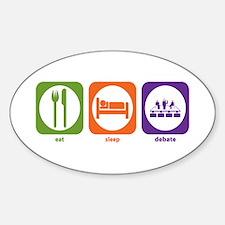 Eat Sleep Debate Oval Decal