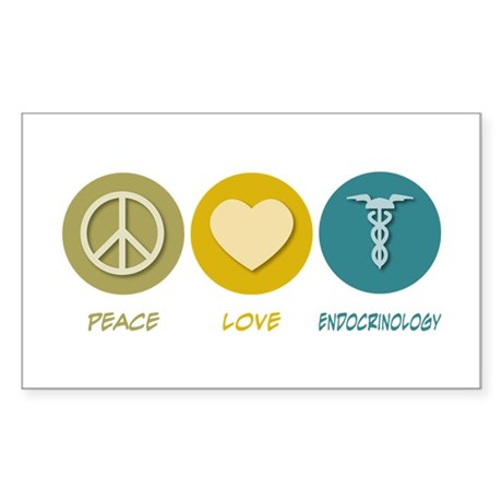 Peace Love Endocrinology Rectangle Sticker