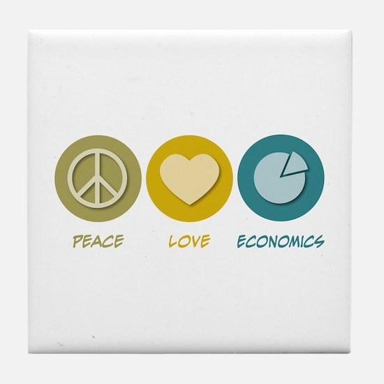 Peace Love Economics Tile Coaster