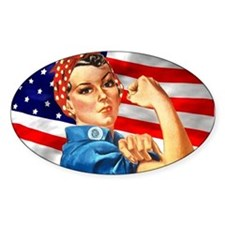 Rosie the Riveter with US Flag Background Decal