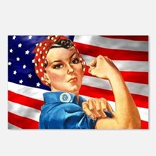 Rosie the Riveter with US Flag Background Postcard