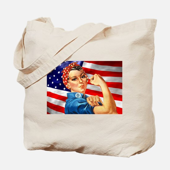 Rosie the Riveter with US Flag Background Tote Bag