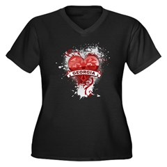 Heart Georgia Women's Plus Size V-Neck Dark T-Shir