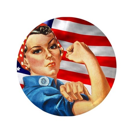 """Rosie the Riveter with US Flag Background 3.5"""" But"""