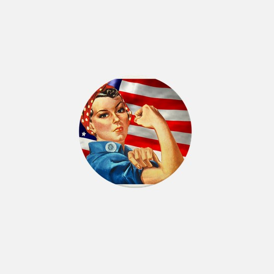 Rosie the Riveter with US Flag Background Mini But