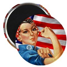 """Rosie the Riveter with US Flag Background 2.25"""" Ma"""