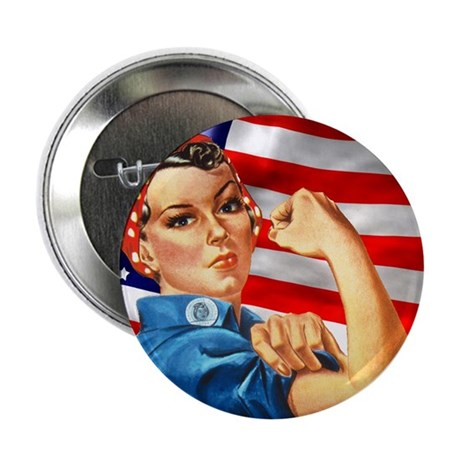 """Rosie the Riveter with US Flag Background 2.25"""" Bu"""