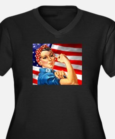 Rosie the Riveter with US Flag Background Women's