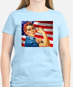 Rosie the Riveter with US Flag Background T-Shirt