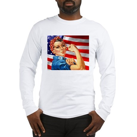 Rosie the Riveter with US Flag Background Long Sle
