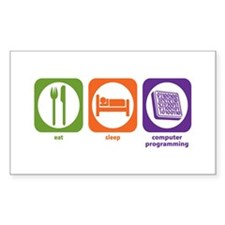 Eat Sleep Computer Programming Rectangle Decal