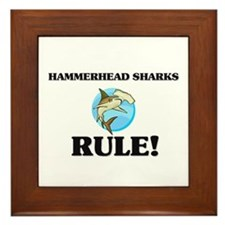 Hammerhead Sharks Rule! Framed Tile