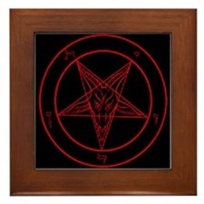 Red Baphomet Framed Tile