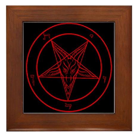 Red Baphomet Framed Tile
