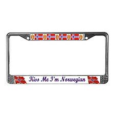 Kiss Me I'm Norwegian  License Plate Frame