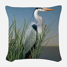 Heron Watch Woven Throw Pillow