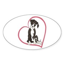 NMtl Heart Pup Oval Decal